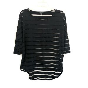 Amisu Semi-sheer striped hi lo hem top M/L